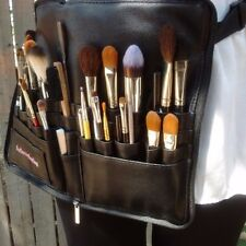 Professional leather PU makeup brush belt/zipper travel cosmetic case w/strap