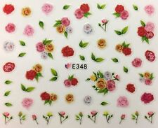 Nail Art 3D Decal Stickers Multicolored Roses & Rose Buds E348