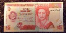 Belize Banknote. Five Dollars. Uncirculated. Queens Image. Dated 2011.