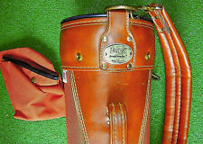 Vintage Hot-Z Golf Bag Brown Leather & Canvas USA Good Condition - Ships Fast