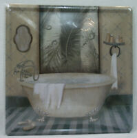 Plaque en fer 20 x 20cm BAIGNOIRE ancienne Salle de bain (non plaque émaillée)