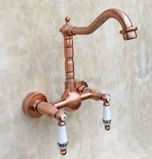 Red Copper Swivel Spout Kitchen Sink Faucet Dual Ceramic Handle Mixer Tap trg032