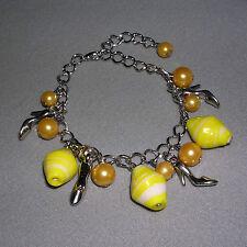 Yellow Pearl & Shoe Adjustable Charm Bracelet / Anklet