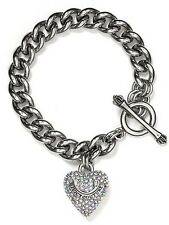 JUICY COUTURE CRYSTAL PAVE HEART BANNER STARTER BRACELET IN SILVER BRAND NEW