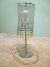 Brass Table Lamp 19in Translucent Green Tropical Mid Century Modern Vintage