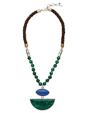 $75 Lucky Brand Color Block Malachite Beaded Stone Pendant Leather Necklace NWT