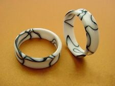 PAIR OF ACRYLIC WHITE MARBLE 1' 1/4 INCH (32mm) PLUGS TUNNELS