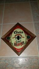 """Vintage Coors Banquet Beer Mirror Bar Pub Sign Adolph 13"""" x 13"""" Graphic Glass"""