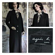 "AGNES B PARIS coat raincoat ""Alex"" long black SIZE 6 orig600 made FRANCE freship"
