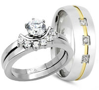 3PCS His & Hers  Womens STAINLESS STEEL & Mens TITANIUM Wedding rings set bridal