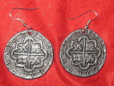 ANTIQUE SILVER COIN PIECES OF EIGHT PIRATE CROSS PEWTER DANGLE EARRINGS