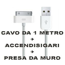 Kit Carica Batteria Auto Usb 30 Pin 1M Per Iphone 3G 3GS 4 4S Ipod Touch Ipad 2