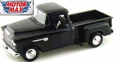 1/24 Scale, Chevrolet 5100 Stepside Pick Up, black '55 Motormax. Diecast metal M