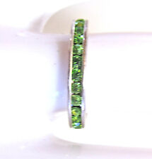 dainty sterling silver & peridot green cz eternity ring, size 5