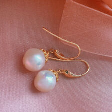 Natural Baroque White Pearl Earrings 18KGB Holiday gifts Dangle Fashion Classic