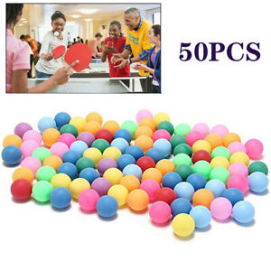 50Pcs Colored Pong Balls Entertainment Table Tennis Mixed Colors for Game Toy UK