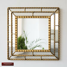 "Gold Decorative Accent Mirror wall 18.1"" from Peru, Bathroom Square Mirror wall"