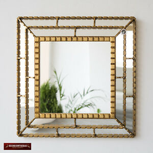 """Gold Decorative Accent Mirror wall 18.1"""" from Peru, Bathroom Square Mirror wall"""