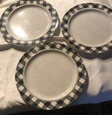 New listing Shabby Chic New! Set Of 3 Gingham Check Black Beige Melamine Dinner Plates Nwot