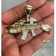 14K SOLID YELLOW WHITE GOLD Rifle Gun Pendant - AK-147 Machine Necklace Charm