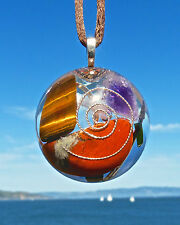RED JASPER Positive Energy Orgone Dome Pendant with Tiger Eye, Amethyst & Arrow.