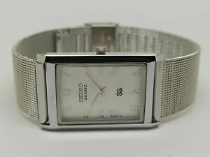 Seiko Quartz Men Steel Super Slim Rectangle White Dial Excellent Watch Run Order