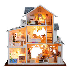 DIY Wooden Dolls House Miniature Kit LED+Furniture+Music Box Kids Toy Gift