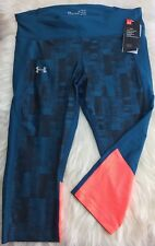 NWT NEW WOMEN UNDER ARMOUR BLUE COMPRESSION RUNNING CAPRI PANTS SZ XL