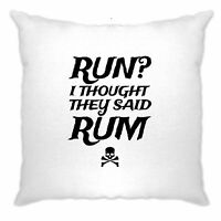 Novelty Cushion Cover Run? I Thought They Said Rum Slogan Pirate Skull Crossbone