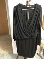 DKNYC Woman City Icons Dress 1X Black Long Sleeves Nwt