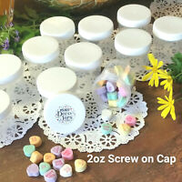 12 Clear JARS 2 ounce Container Plastic WHITE Screw On Cap 5307 DecoJars USA