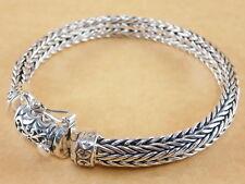 "Handmade Bali Style Foxtail Fraco Wheat 925 Sterling Silver Bracelet 7.5"" 47g"