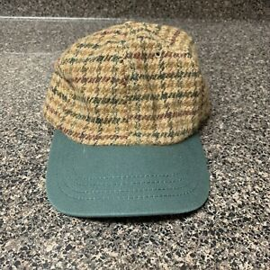 Vintage Polo Ralph Lauren Wool Plaid No Pony Made In USA Green Bill Hat Rare