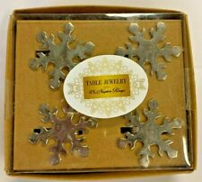 Lintex Set of 4 Napkin Rings Nib Snowflake Shape Silver-Tone Finished Brass