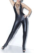 "Latex / Leather Faux Look Catsuit Jumpsuit Low ""V"" Front with Lace Up Low Back"