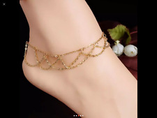 "14K Rose Gold Stainless Charms Anklet Foot Ankle Chain Bracelet Adjustable 9""+2"""