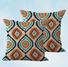Us Seller-set of 2 cute decorative pillows ikat peacock feathers cushion cover
