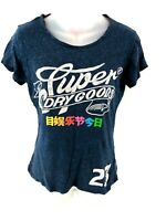 SUPERDRY Womens T Shirt Top M Medium Blue Cotton & Viscose