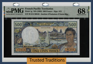 TT PK 1g ND (1992) FRENCH PACIFIC TERRITORIES 500 FRANCS PMG 68 EPQ NONE FINER!