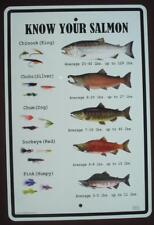 Know Your Salmon Chart Sign 10 by 15 New novelty decor fish fishing picture