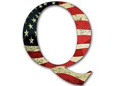 4x4 inch Q Shaped VINTAGE American Flag Sticker  - qanon anon conservative trump