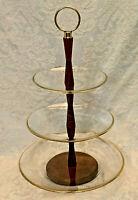 MCM Mid-Century Modern 3-Tier Tidbit Tray Wood Stem, Crystal Plates, Gold Trim