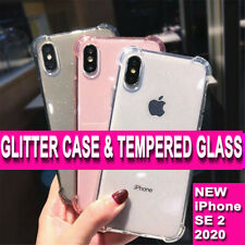 iPhone XR XS MAX GLITTER CASE Shockproof Silicone Cover & GLASS Screen Protector