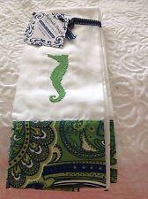 Rightside Design Set Of 4 Napkins White Seahorse Blue Green 100% Cotton Nip