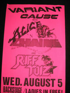 Alice in Chains 1987 Original Gig Poster Seattle Backstage Variant Cause Toiz