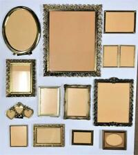 13 Vintage Gold Metal Brass Picture Frames Ornate Embossed Double Oval Footed