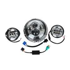 "7"" LED Projector Daymaker Headlight+Passing Lights+Ring Mount for Harley Touring"