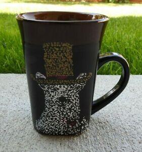 Royal Norfolk Black Brown Coffee Tea Mug Cup Hand Crafted Tall 14oz Painted Dog