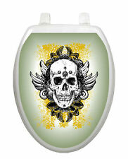 Toilet Tattoos Skull Grunge Seat Cover Vinyl Skull Horror Motorcycle