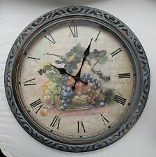 """LARGE ROUND BATTERY OPERATED WALL CLOCK BASKET OF GRAPES 16"""""""